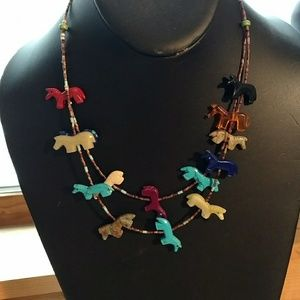 Vintage horse fetish necklace.